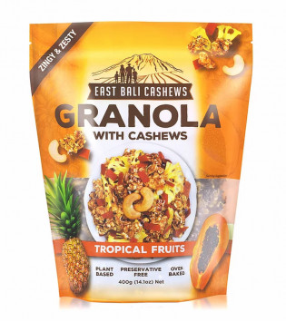 EAST BALI CASHEWS GRANOLA TROPICAL FRUITS 400 G